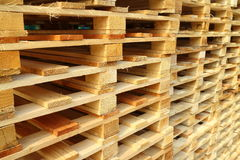Wood pallet. In factory for shipping Royalty Free Stock Photography