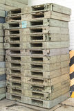 Wood Pallet skid flat transport structure that supports while be Royalty Free Stock Image