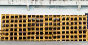 Wood Pallet skid flat transport structure that supports while be Royalty Free Stock Photo
