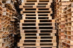 Wood pallet stack. In warehouse Royalty Free Stock Photos