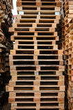 Wood pallet stack. In warehouse Royalty Free Stock Image
