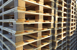 Wood pallets. Stacked in sun ligth Royalty Free Stock Photos