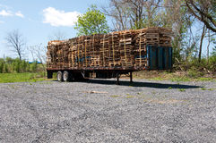 Wood pallets on a truck Stock Photos