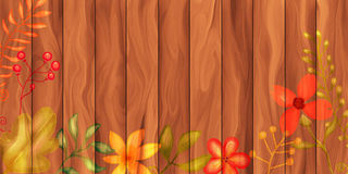 Wood Panel Floral Border Stock Images