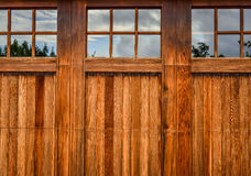 Wood panel garage door Royalty Free Stock Images