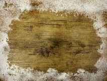 Wood panel with snow Stock Photo