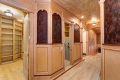 Wood paneled corridor, mansion hallway Royalty Free Stock Image