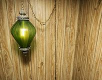 Wood Paneling and Hanging Lamp Royalty Free Stock Image