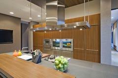 Wood Panelled Spotlit Kitchen Stock Image