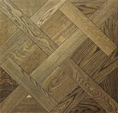 Wood parquet floor with tiles arranged in geometric shape. Background and texture stock photography