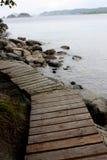 Wood path along the seaside Royalty Free Stock Photo