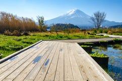 Wood path direction to Mount Fuji at Kawaguchi-go Stock Photos