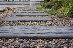 Wood path in garden Stock Image