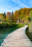 Wood path in the Plitvice lake national park Royalty Free Stock Photography