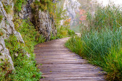 Wood path in the Plitvice national park in autumn Royalty Free Stock Photography