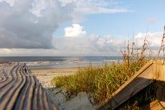 Wood path to the scenic Atlantic Ocean shore Stock Photos