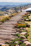 Wood pathway in the garden. And mountain view Royalty Free Stock Photo