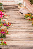 Wood pathway in the garden. And mountain view Royalty Free Stock Photography