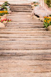 Wood pathway in the garden Royalty Free Stock Image