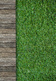 Wood pathway and green grass Stock Images