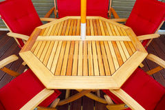 Wood patio furniture Royalty Free Stock Photos