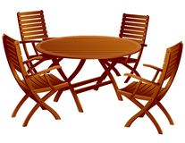 Wood Patio Table and Chairs Royalty Free Stock Images