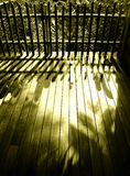 Wood patio wooden fence, sunlight Stock Photography