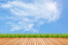 Wood pattern and grass under sky Royalty Free Stock Photography