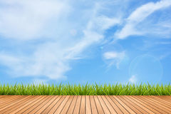 Wood pattern and grass under sky Royalty Free Stock Photos