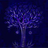 Wood patterned, spirals on branches. Tree with ornaments and galaxies in the branches, on blue background Royalty Free Stock Photos