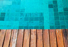 Wood pavement with pool edge Stock Photo
