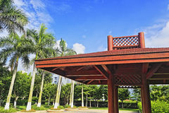Wood pavilion   in the coconut forest Royalty Free Stock Photos