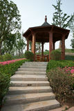 Wood pavilion in park Royalty Free Stock Image
