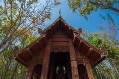 Wood pavilion in Wat Analayo Thipphayaram royalty free stock photos