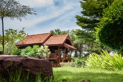 Wood pavillion in a beautiful park Stock Photography