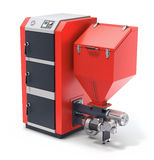 Wood pellet boiler with fuel hooper and feeding system Royalty Free Stock Photo