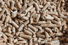 Wood pellet texture. Wood pellet for heating. Horizontal composition Royalty Free Stock Photos