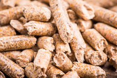 Wood pellet. Production for heating royalty free stock image