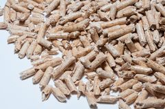 Wood pellet for heating. Wood pellet on White background Royalty Free Stock Images