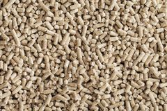 Wood Pellets. Alternative fuel: Wood pellets, made from sawdust and other industrial wood waste Stock Photo