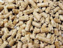Wood pellets. (used as a renewable energy) background close up Royalty Free Stock Photos