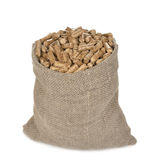 Wood pellets in the bag Royalty Free Stock Photo