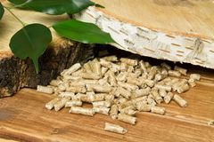 Wood pellets, birch and twig with leaves. Biomass Pellets- cheap energy. The concept of biofuel production. Alternative background biological burn central chip royalty free stock photo