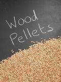Wood pellets on  a blackboard with the words wood pellets Royalty Free Stock Photo