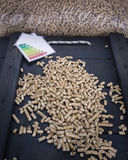 Wood pellets with energy lable Royalty Free Stock Images