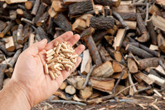 Wood pellets in hand Royalty Free Stock Images