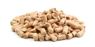 Wood pellets isolated Royalty Free Stock Photos