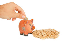 Wood pellets with piggy bank Royalty Free Stock Photo