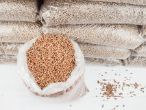 Wood pellets in a Sack Stock Photography