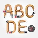 Wood pencil alphabet style. Royalty Free Stock Image